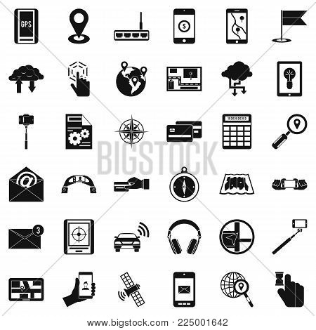 Wireless widget icons set. Simple set of 36 wireless widget vector icons for web isolated on white background