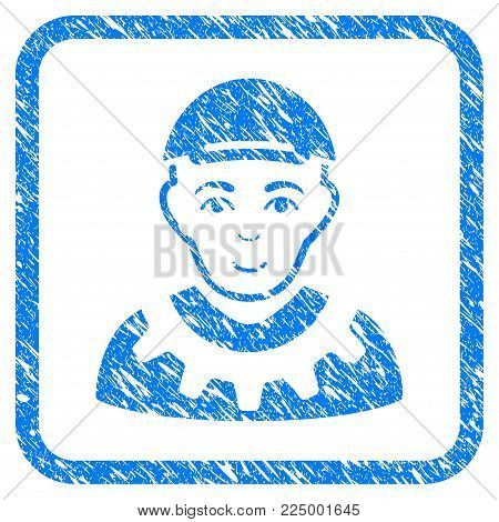 Worker rubber seal imitation. Icon vector symbol with scratched design and dirty texture in rounded square frame. Scratched blue sticker. Male face has gladness feeling.