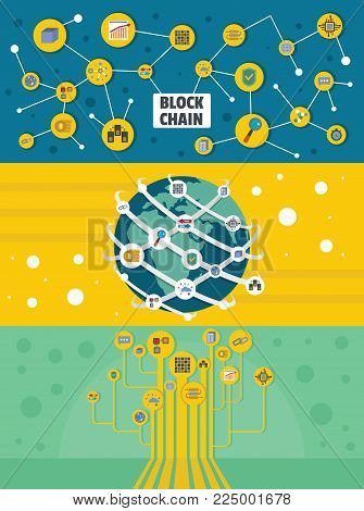 Blockchain industry miner banner horizontal concept set. Flat illustration of 3 blockchain industry miner vector banner horizontal concepts for web
