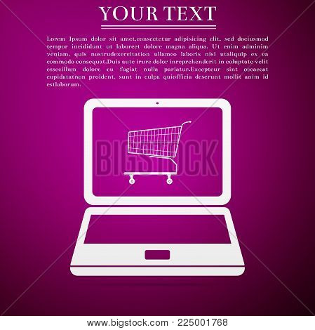 Online shopping concept. Shopping cart on screen laptop icon isolated on purple background. Concept e-commerce, e-business, online business marketing. Flat design. Vector Illustration