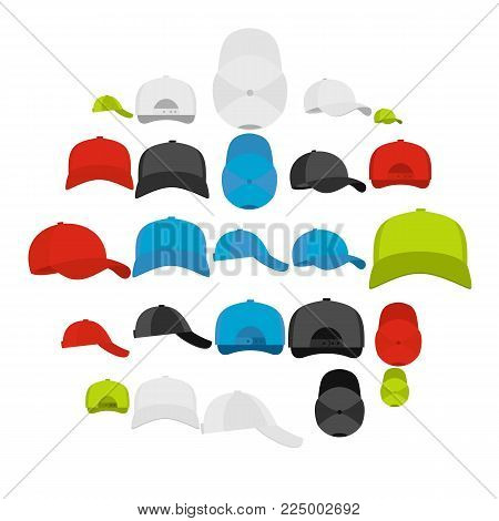Baseball cap views icons set. Simple illustration of 25 baseball cap views vector icons for web