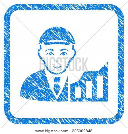 Stock Trader rubber stamp watermark. Icon vector symbol with unclean design and corrosion texture in rounded rectangle. Scratched blue sign. Male face has joyful emotions.