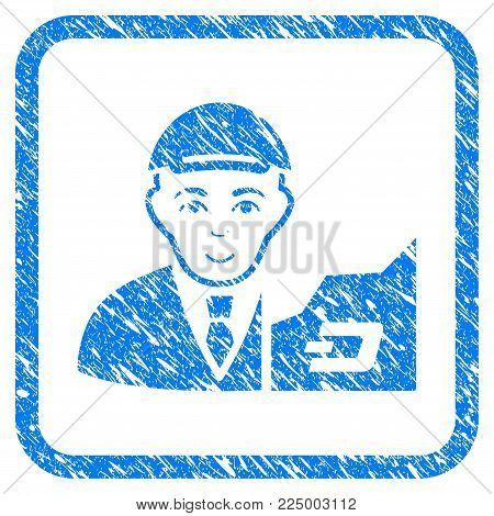 Dash Trader rubber stamp watermark. Icon vector symbol with textured design and corrosion texture in rounded square frame. Scratched blue emblem. Male face has joy mood. poster