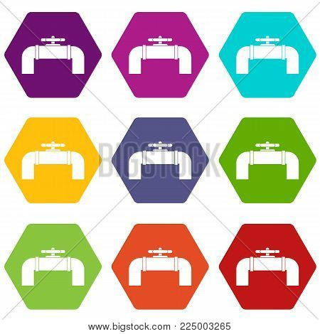 Industrial pipe valve icon set many color hexahedron isolated on white vector illustration