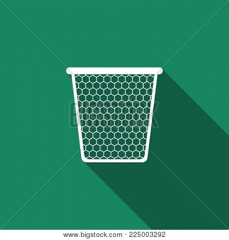 Trash can icon isolated with long shadow. Flat design. Vector Illustration