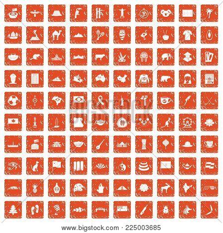 100 landmarks icons set in grunge style orange color isolated on white background vector illustration