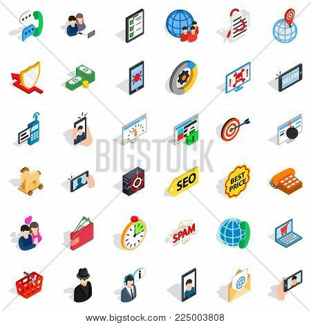Telecom icons set. Isometric set of 36 telecom vector icons for web isolated on white background