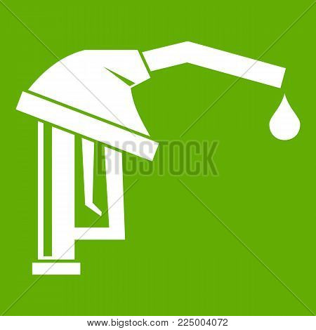 Gasoline pump nozzle icon white isolated on green background. Vector illustration