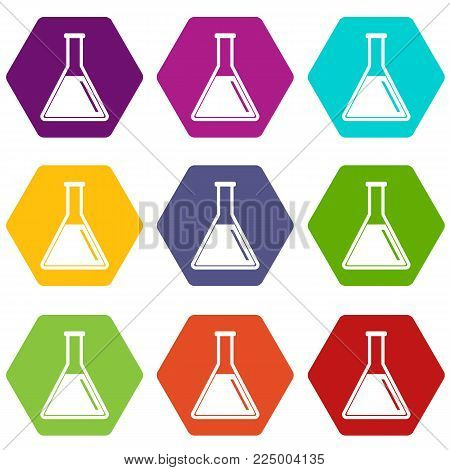 Test tube with oil icon set many color hexahedron isolated on white vector illustration