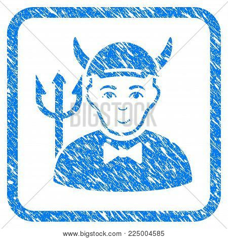 Devil rubber stamp watermark. Icon vector symbol with scratched design and corrosion texture in rounded rectangle. Scratched blue emblem. Guy face has glad emotions. a person from devil in a cap.