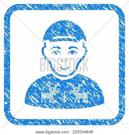 Geek rubber seal stamp watermark. Icon vector symbol with scratched design and corrosion texture inside rounded frame. Scratched blue sticker. Dude face has gladness feeling.