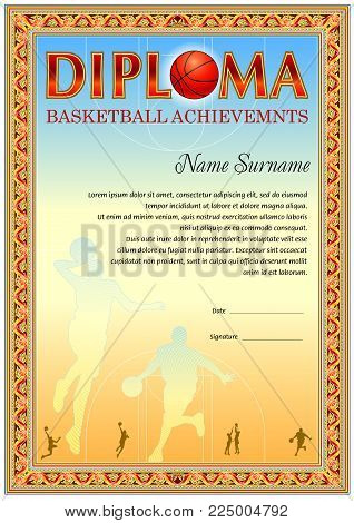 Basketball dioloma blank template. It can be use as design for honor, award or other official papers
