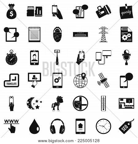 Mobile use icons set. Simple set of 36 mobile use vector icons for web isolated on white background