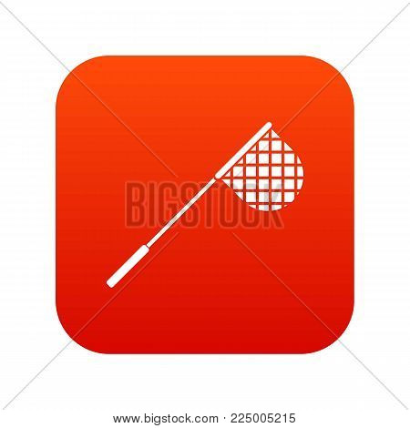 Fishing net icon digital red for any design isolated on white vector illustration