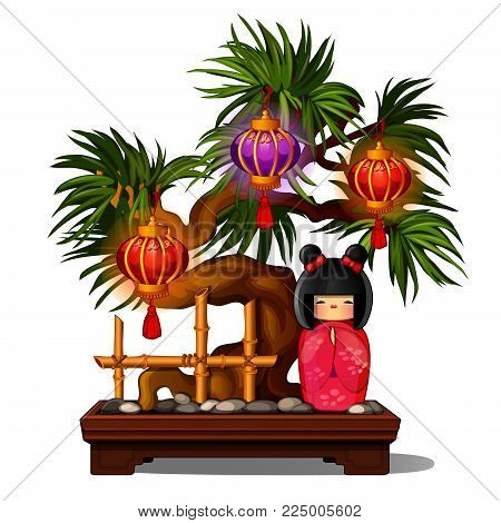 Bonsai Tree With Wooden Japanese Kokeshi Doll And Chinese Lanterns Isolated On White Background. Vec