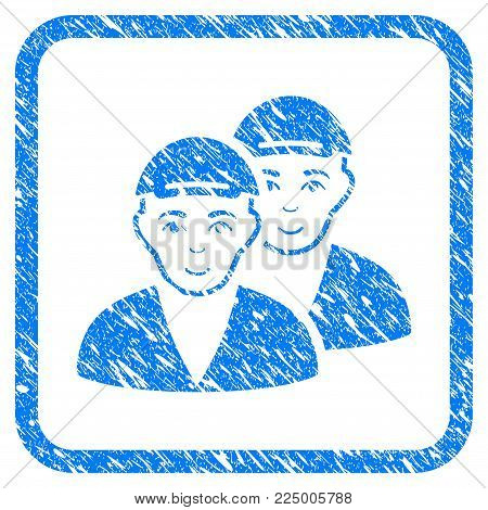 Boys rubber seal imitation. Icon vector symbol with scratched design and dirty texture in rounded squared frame. Scratched blue sticker. Guy face has joy sentiment. a dude from boys wearing a cap.