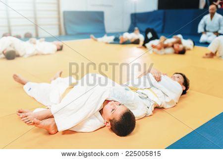 Kid judo, fight training, martial art