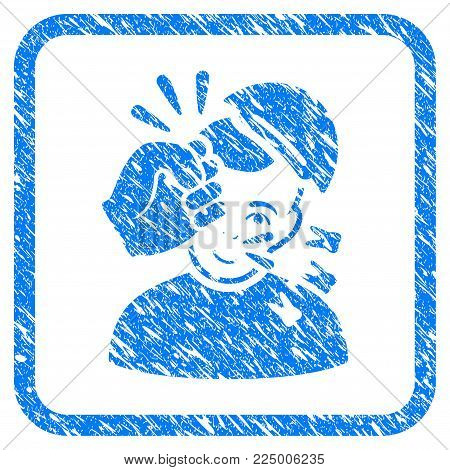 Kickboxer rubber seal imitation. Icon vector symbol with textured design and dust texture inside rounded squared frame. Scratched blue sticker. Guy face has happy expression.