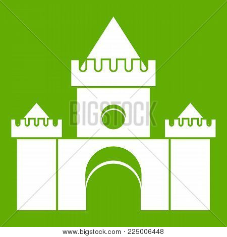 Fairytale castle icon white isolated on green background. Vector illustration