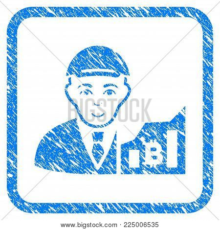 Bitcoin Trader rubber stamp imitation. Icon vector symbol with grunge design and dirty texture in rounded square frame. Scratched blue sign. Human face has glad expression.