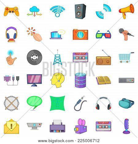 Hardware widget icons set. Cartoon set of 36 hardware widget vector icons for web isolated on white background