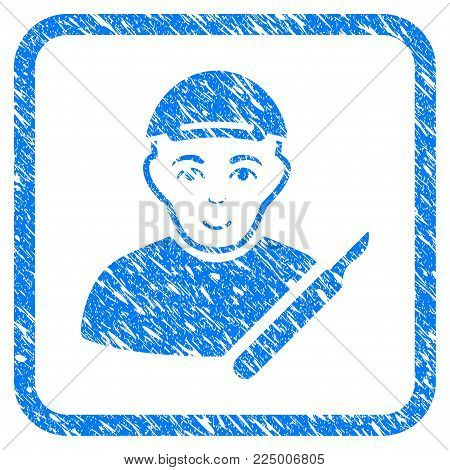 Surgeon rubber stamp imitation. Icon vector symbol with textured design and corrosion texture in rounded rectangle. Scratched blue sticker. Boy face has joy emotion.