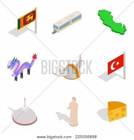 Parental duties icons set. Isometric set of 9 parental duties vector icons for web isolated on white background