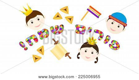 Purim children vector photo free trial bigstock purim children characters and colorful greeting inscription hebrew happy purim traditional holiday symbols m4hsunfo