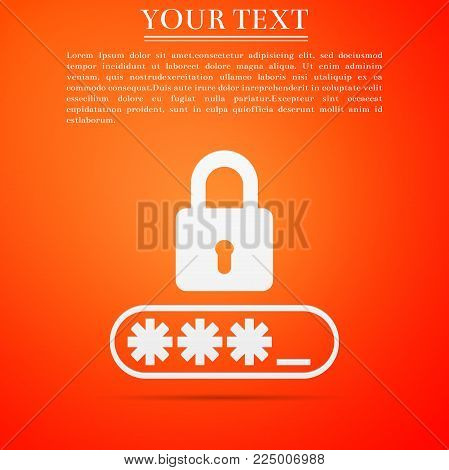 Password Protection icon isolated on orange background. Flat design. Vector Illustration