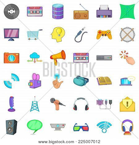 App widget icons set. Cartoon set of 36 app widget vector icons for web isolated on white background