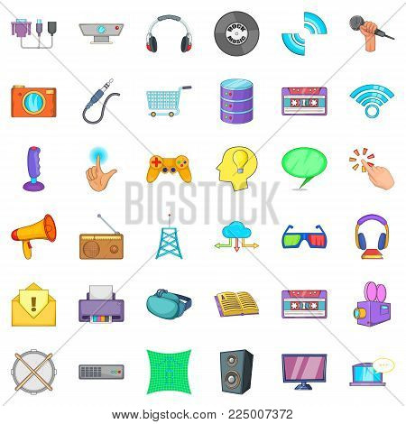 Soft application icons set. Cartoon set of 36 soft application vector icons for web isolated on white background