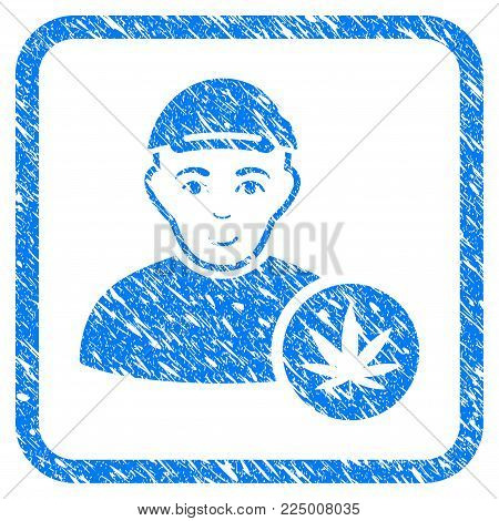 Marihuana Dealer rubber seal watermark. Icon vector symbol with unclean design and dust texture in rounded frame. Scratched blue emblem. Human face has joy feeling.