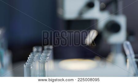 Sterile working surface, medical laboratory prepared for test, equipment closeup, stock video