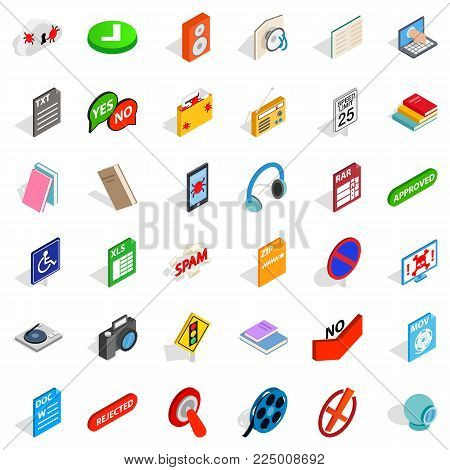 Transfer icons set. Isometric set of 36 transfer vector icons for web isolated on white background