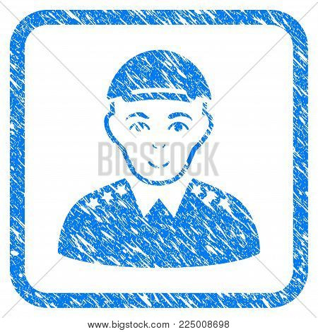 Army Officer rubber seal watermark. Icon vector symbol with distress design and dirty texture inside rounded square frame. Scratched blue sticker. Male face has happiness expression.