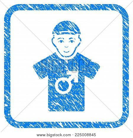Male rubber stamp imitation. Icon vector symbol with grungy design and dirty texture in rounded square frame. Scratched blue sign. Male face has glad feeling. a man from male dressed with a cap.