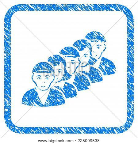 People Queue rubber stamp imitation. Icon vector symbol with scratched design and unclean texture inside rounded frame. Scratched blue stamp imitation. Male face has enjoy feeling.