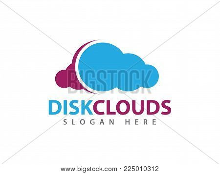 Vector Disk Cloud Online Cloud Storage Logo Design