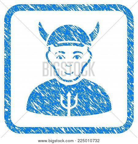 Devil rubber seal watermark. Icon vector symbol with distress design and dust texture inside rounded frame. Scratched blue sign. Boy face has joy mood. a guy from devil wearing a cap.