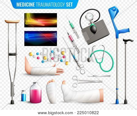 Set of medical tools, x-ray with bones fracture, traumas of limbs, transparent background isolated vector illustration poster
