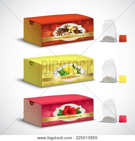 Fruit and herbal whole leaves teabags box packages realistic set with lemon mint hibiscus flavors vector illustration
