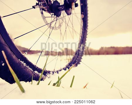 Winter mtb riding in snowy country. Low ankle view to wheel with snow mud tyre. Melting of snow flakes in tyre tread pattern.
