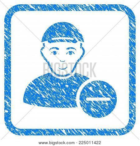 Delete User rubber seal stamp imitation. Icon vector symbol with textured design and dust texture inside rounded frame. Scratched blue emblem. Guy face has enjoy emotions.