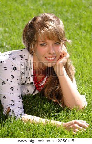 Pretty Teen In Grass