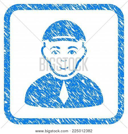 Lawyer rubber seal imitation. Icon vector symbol with textured design and dirty texture inside rounded frame. Scratched blue emblem. Man face has joy mood. a male person from lawyer wearing a cap.
