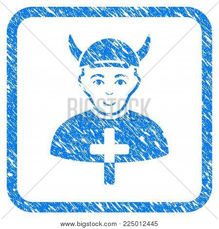 Priest Devil rubber stamp imitation. Icon vector symbol with scratched design and dust texture in rounded square. Scratched blue stamp imitation. Male face has gladness sentiment.