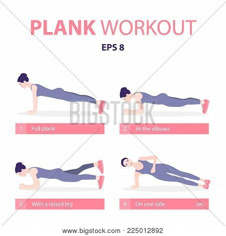 Set Of Young Woman Planking In Various Poses: Elbow Plank, Side Plank, With A Raised Leg, Full Plank