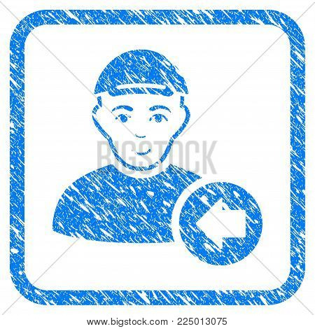 Previous Man rubber seal stamp imitation. Icon vector symbol with grunge design and unclean texture inside rounded square frame. Scratched blue sticker. Person face has joy expression.