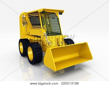 Computer generated 3D illustration with a yellow skid-steer loader against a white background