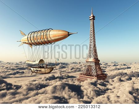 Computer generated 3D illustration with fantasy airship and Eiffel Tower in Paris over the clouds